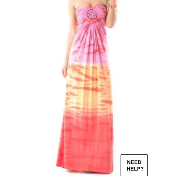Sky Dresses & Skirts - Sky Solaris Strapless Tye Dye Maxi Dress